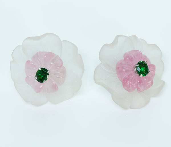 Tiffany & Co. Paloma Picasso Tsavorite Rose Quartz Crystal 18K Gold Earrings