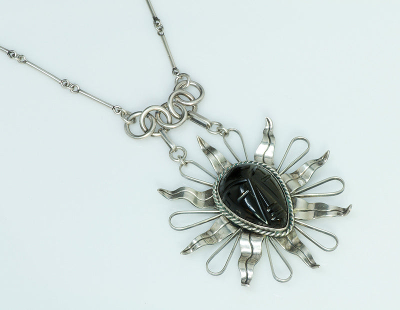 Sterling Silver Sunburst Agate Necklace
