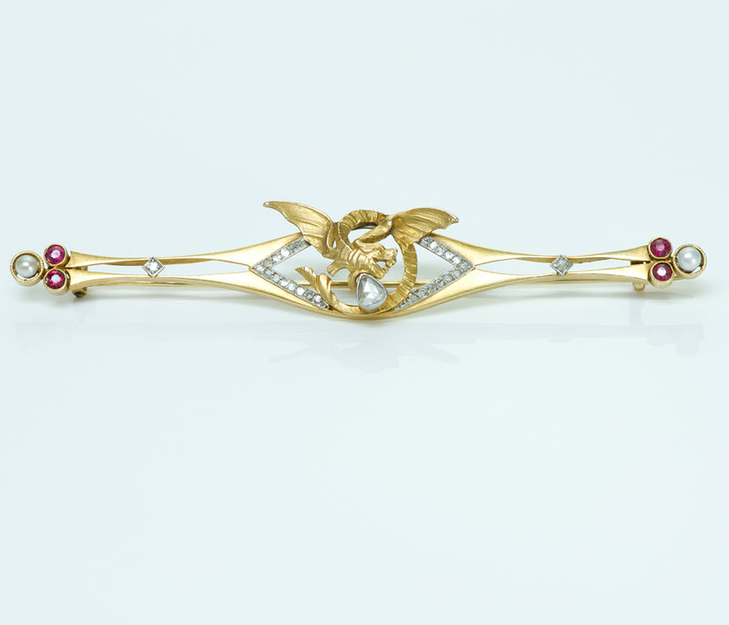 Antique Griffin Gold Diamond Ruby & Pearl Bar Pin