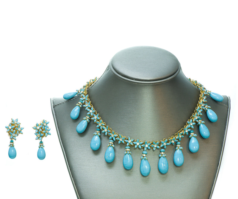 Coco Chanel Gripoix Turquoise Necklace Earrings Set