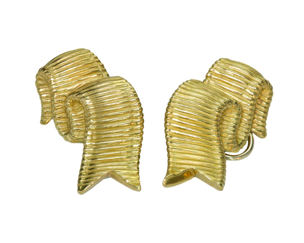 Angela Cummings 18K Gold Ribbon Vintage Earrings