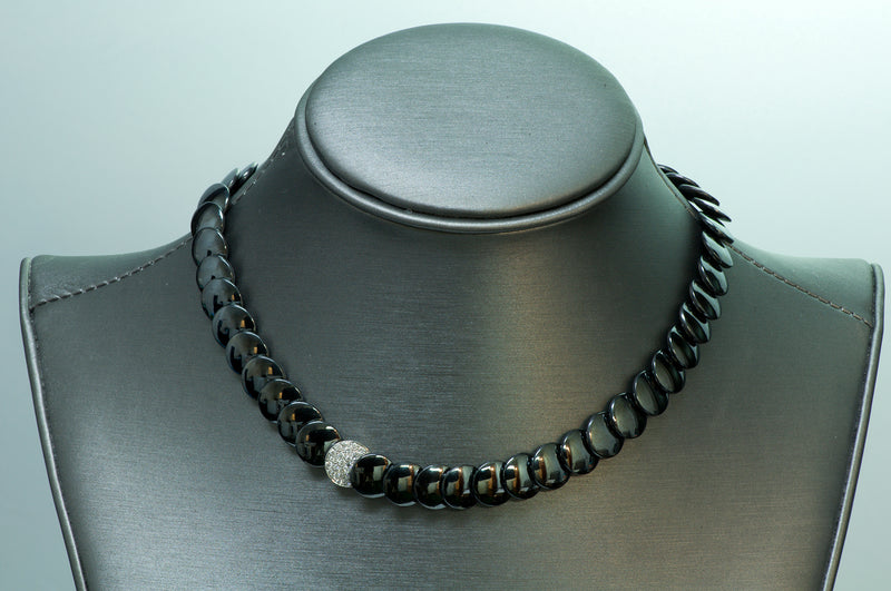 Tiffany & Co. Angela Cummings Platinum Hematite Diamond Necklace