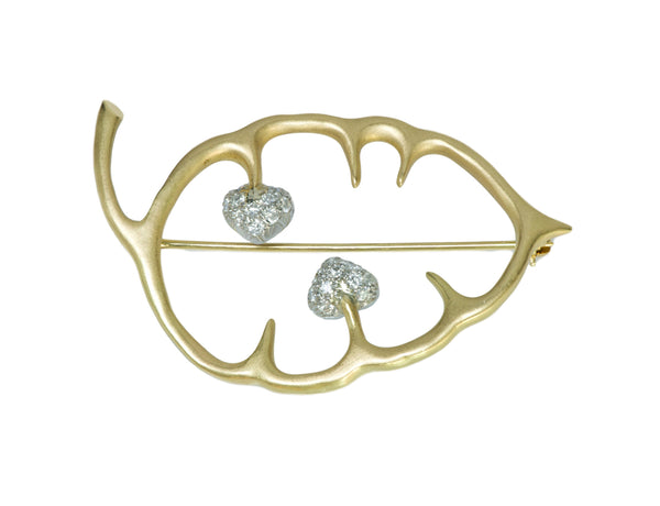Angela Cummings Diamond Platinum Gold Leaf Vintage Brooch