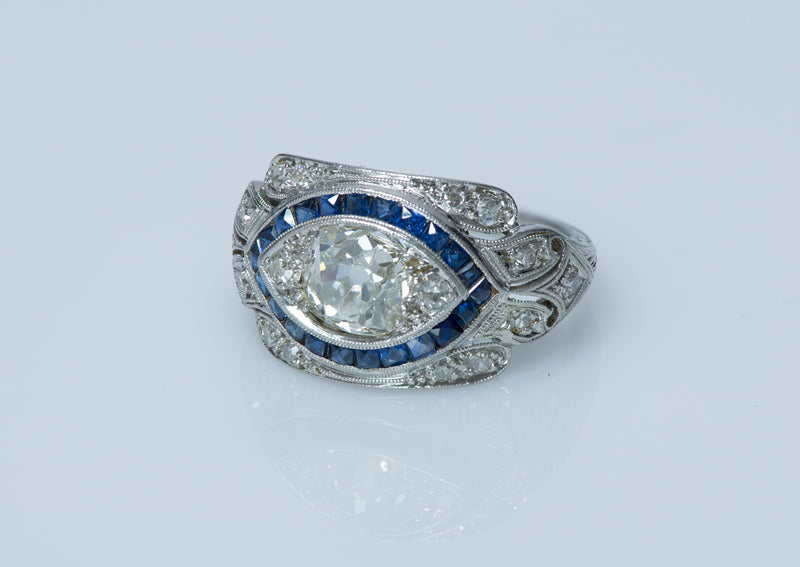 Vintage Diamond Sapphire Engagement Ring