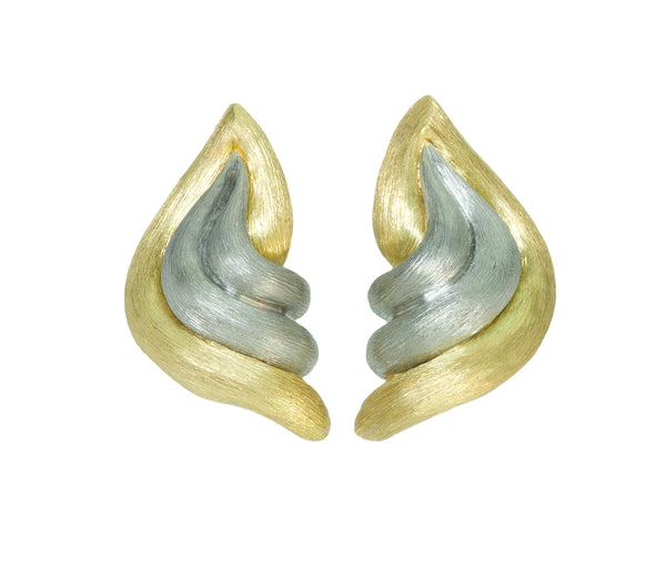 Henry Dunay Sabi Platinum and 18K Gold Earrings