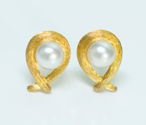 Henry Dunay Pearl 18K Gold Sabi Finish Earrings
