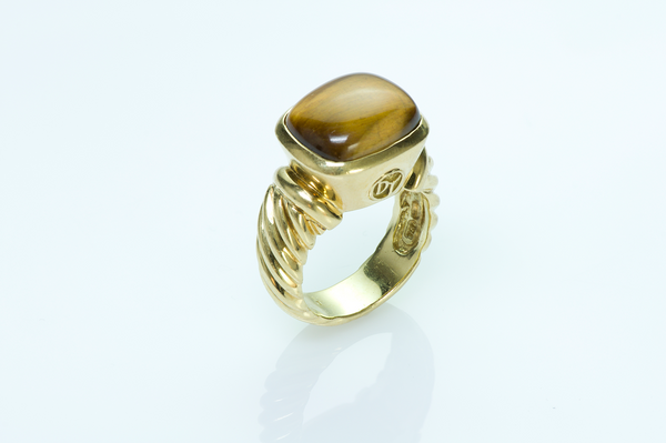 David Yurman Noblesse 18K Gold & Tiger's Eye Ring