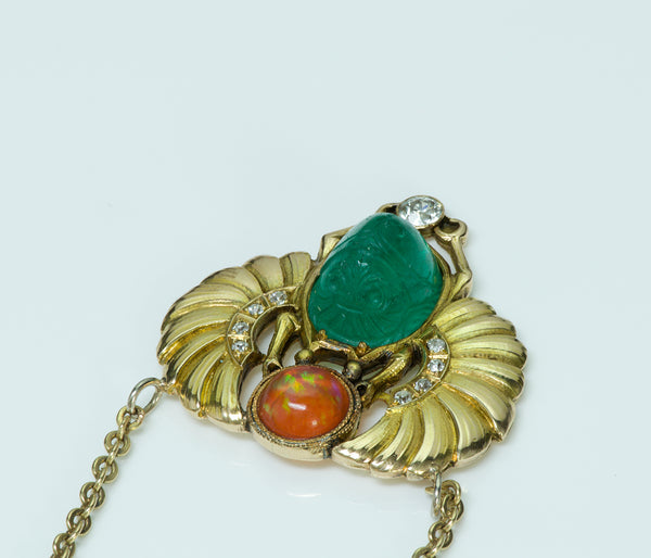 Egyptian Revival Carved Emerald Scarab Fire Opal Diamond Gold Necklace