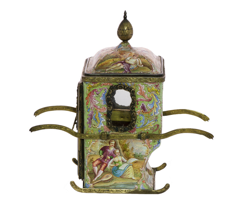 Viennese Enamel Miniature Sedan Chair