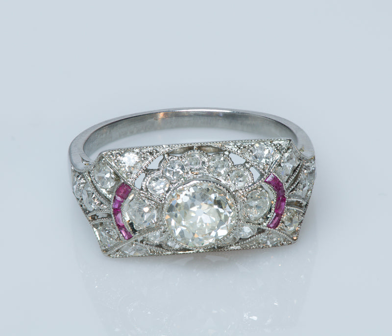 Vintage Old Mine Cut Diamond Ruby Engagement Ring