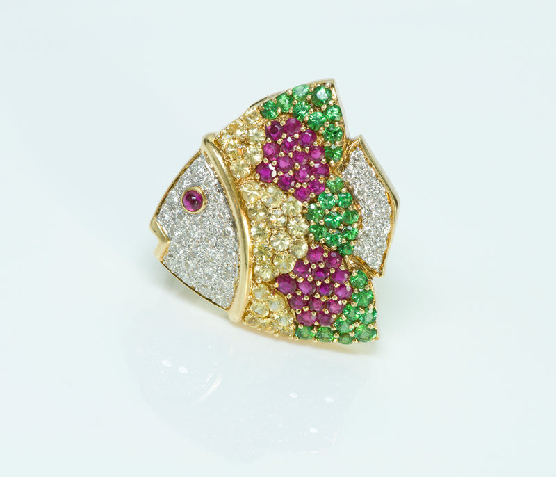 Gold Fish Diamond Sapphire Tsavorite Ruby Pendant/Brooch