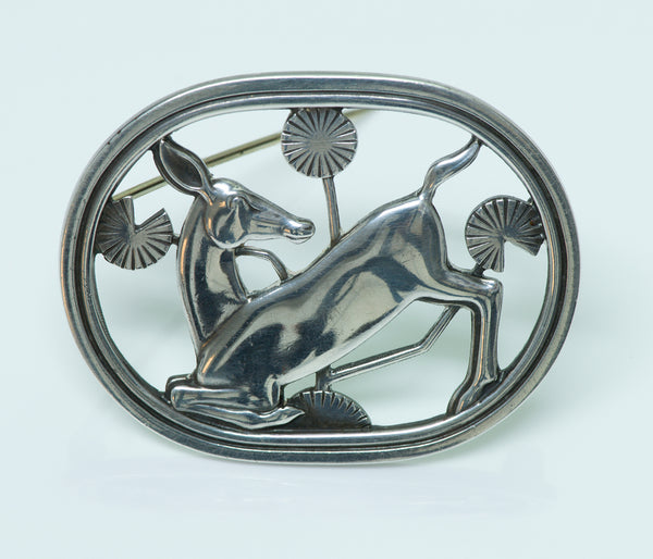 Georg Jensen By Arno Malinowski Art Deco Silver Deer Brooch