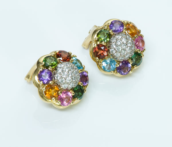 Vintage Gold Multi Colored Stones Diamond Earrings