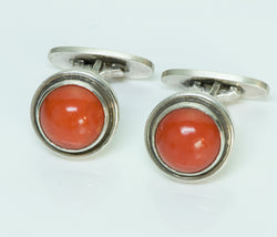 Georg Jensen Sterling Cufflinks Coral Cabochon No. 44D by Harald Nielsen