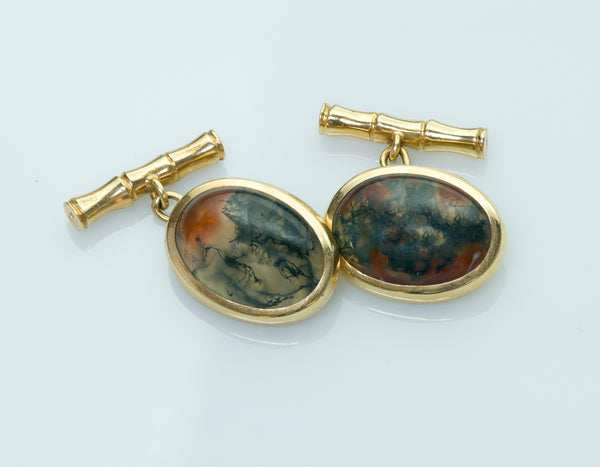 Vintage Yellow Gold Agate Cufflinks