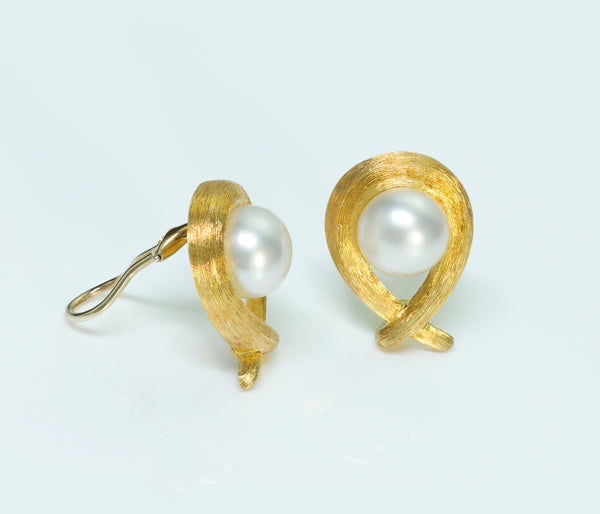 Henry Dunay Pearl 18K Gold Sabi Earrings