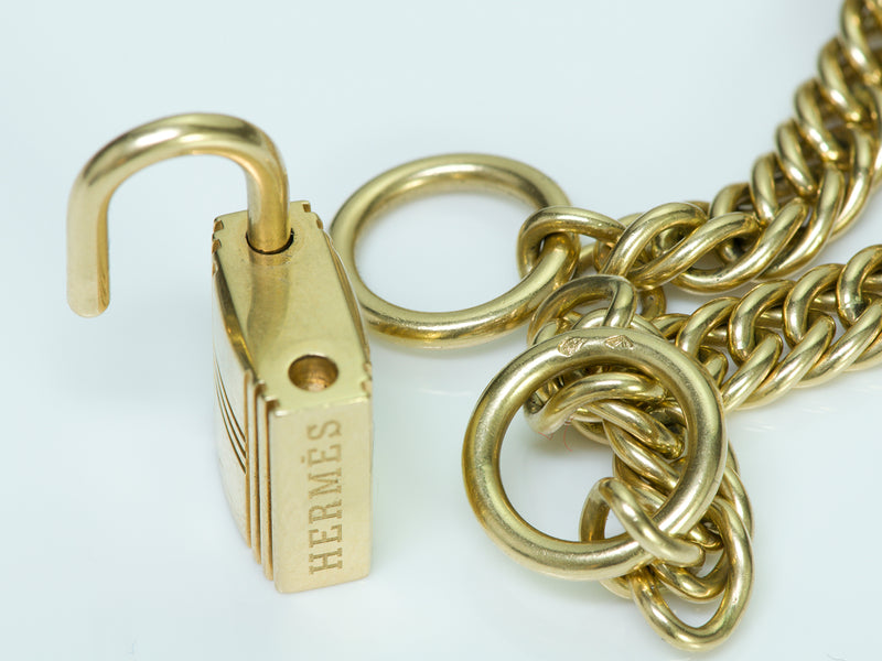 Hermes 18K Gold Padlock Chain Necklace3