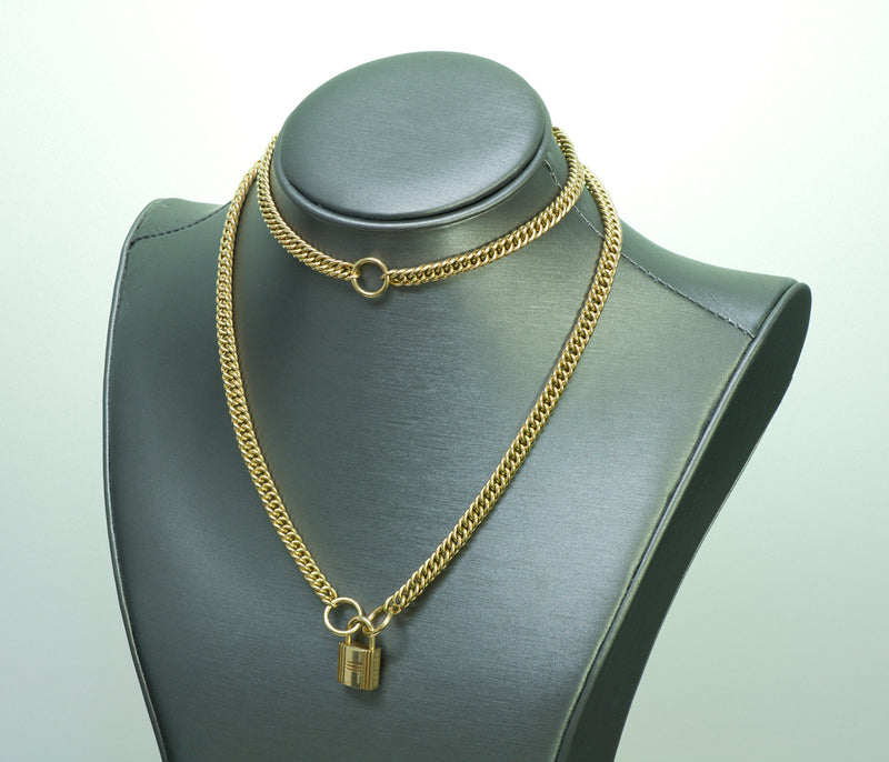 Hermes 18K Gold Padlock Chain Necklace