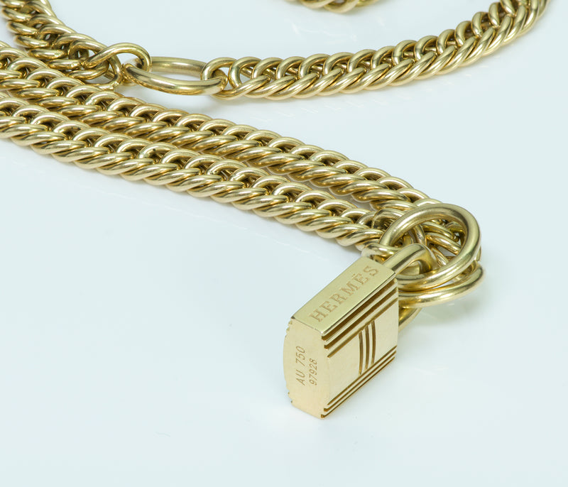 Hermes 18K Gold Padlock Chain Necklace2