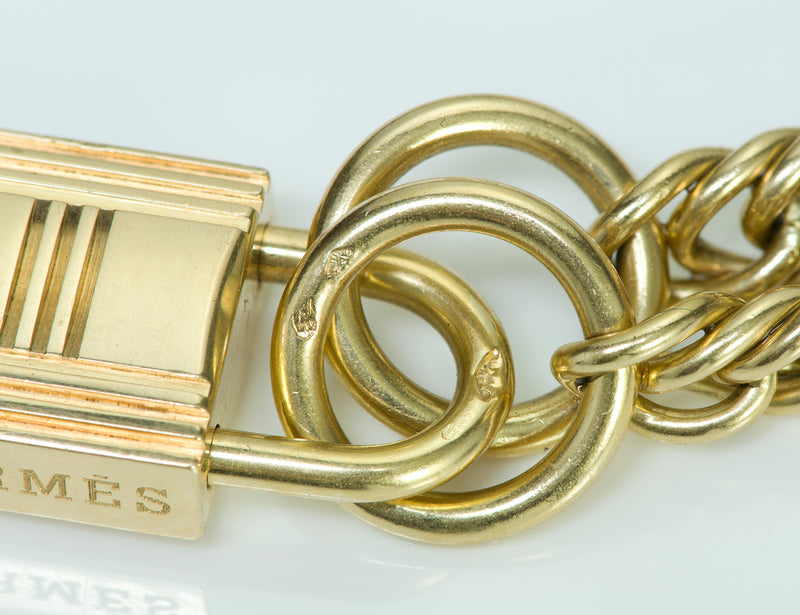 Hermes 18K Gold Padlock Chain Necklace 4