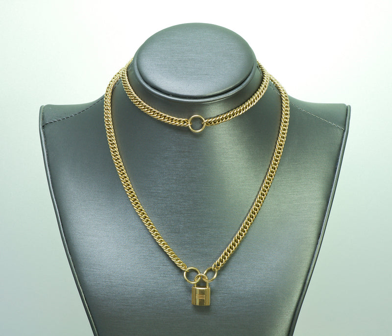 Hermes 18K Gold Padlock Chain Necklace1