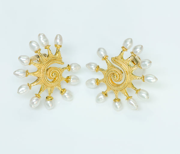 Ilias Lalaounis Greece 18K Gold Pearl Earrings