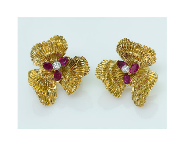 Mauboussin Paris Ruby Diamond 18K Gold Earrings