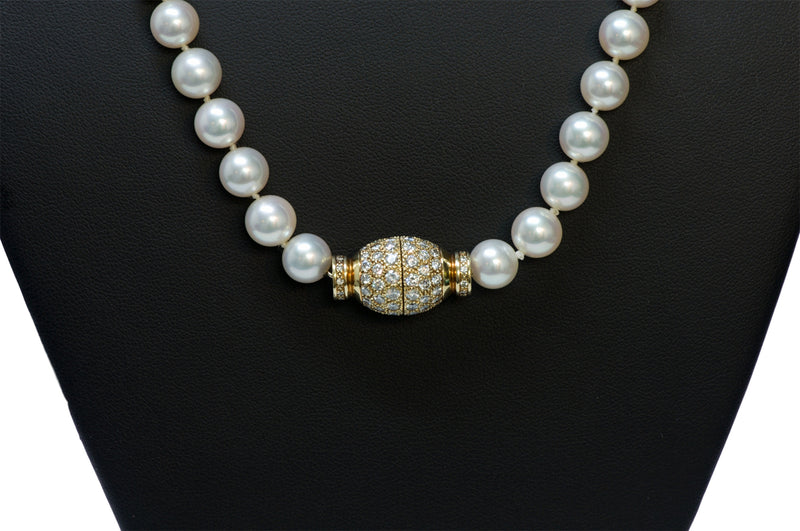 Fine Pearl 18K Gold Diamond Necklace1