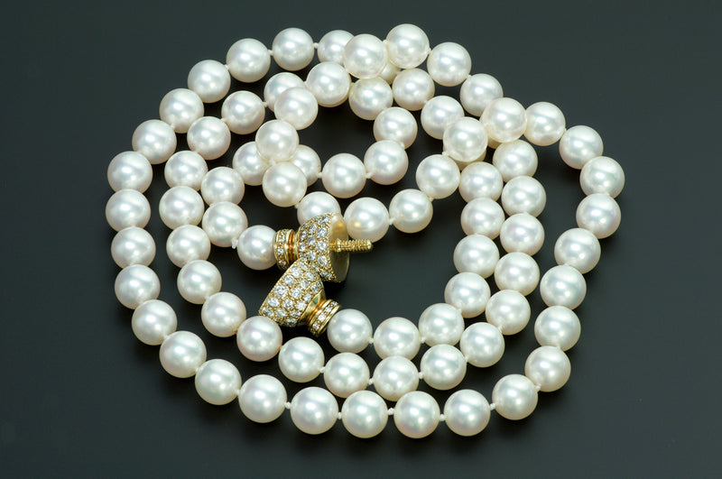 Fine Pearl Y Gold Diamond Clasp Necklace