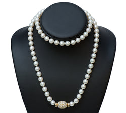 Fine Pearl 18K Gold Diamond Clasp Necklace