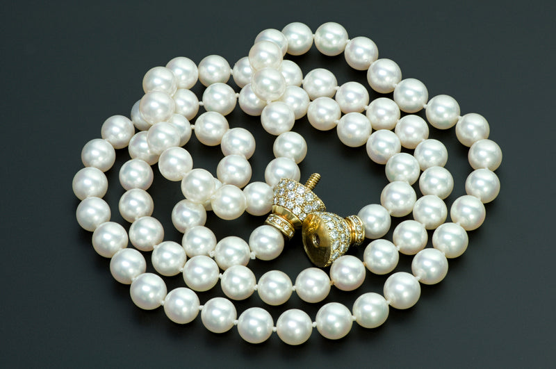 Fine Pearl Gold Diamond Necklace