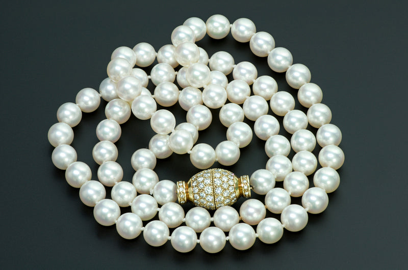 Fine Pearl 18K Gold Diamond Necklace 2