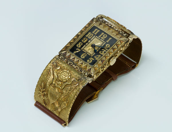 Rare Vintage Engraved Gold Custom Made Men's Watch