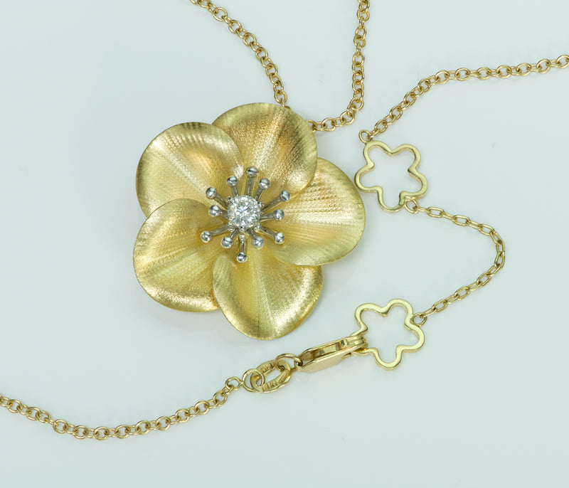 Roberto Coin Cento 18K Gold Diamond Flower Necklace