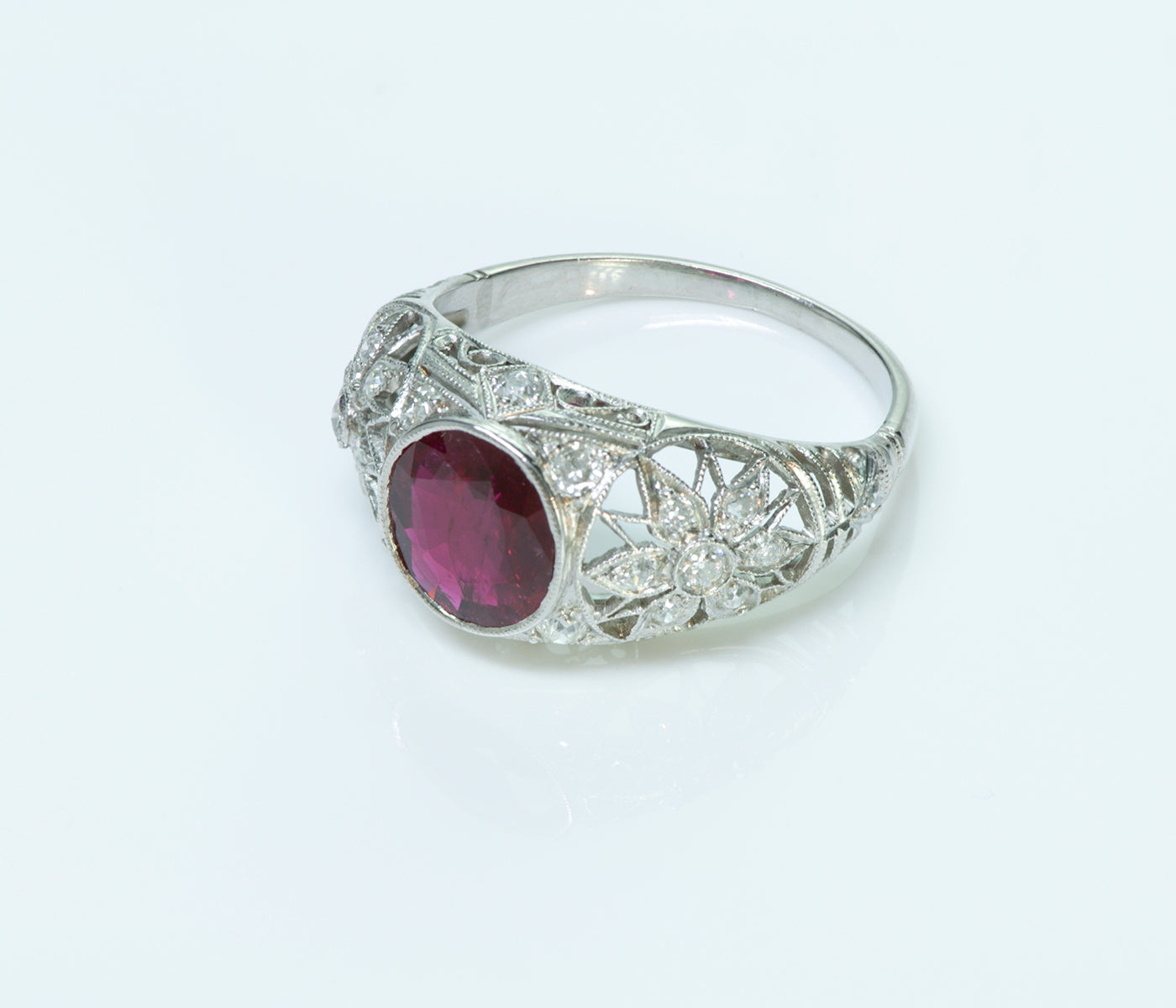 Art Deco Platinum Ruby & Diamond Ring