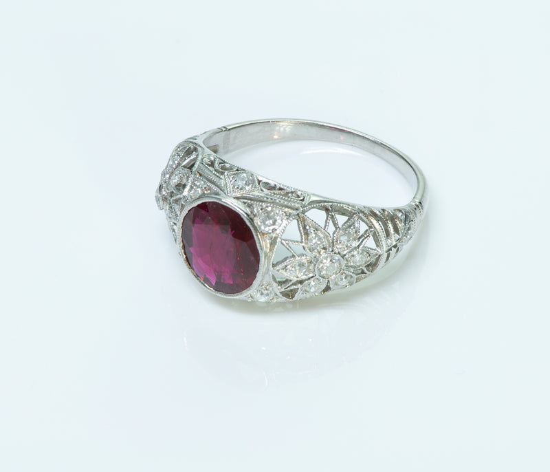 Art Deco Ruby Diamond Ring