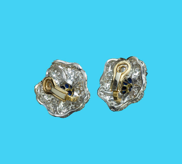 Diamond Sapphire Gold Flower Earrings