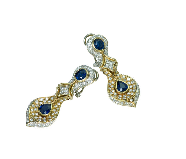 Sapphire Diamond 18K Gold Vintage Earrings