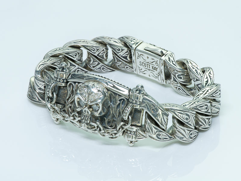Scott Kay Unkaged Sterling Silver 18K Gold Diamond Skull Bracelet