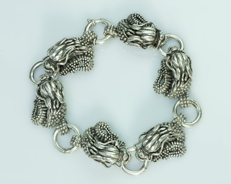 Vintage Sterling Silver Dragon Men's Bracelet