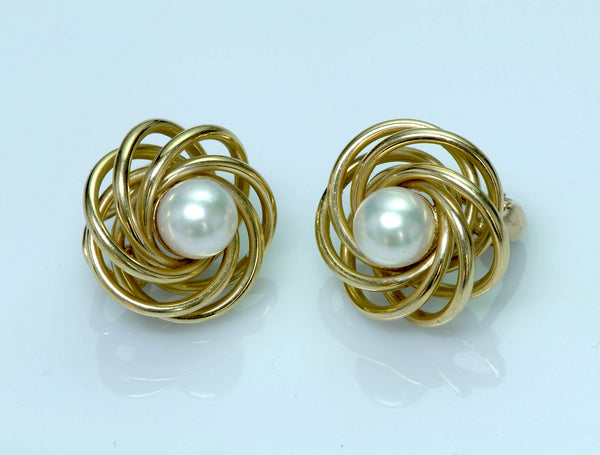 Tiffany & Co. 14K Yellow Gold Pearl Vintage Earrings