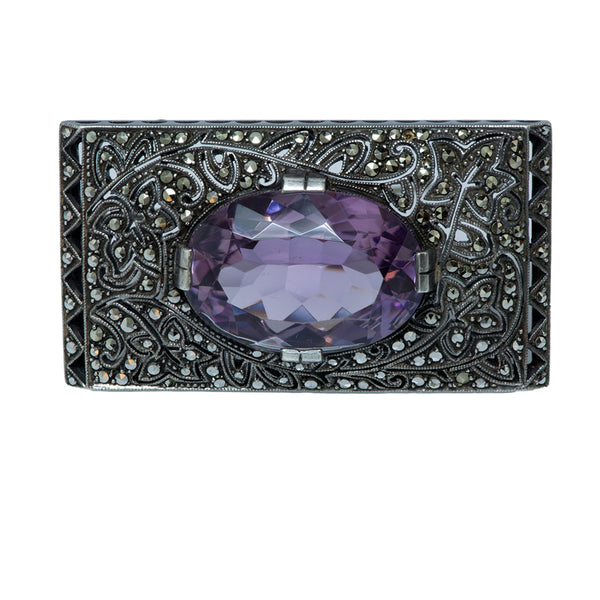 Theodore Fahrner Sterling Silver Marcasite and Amethyst Brooch