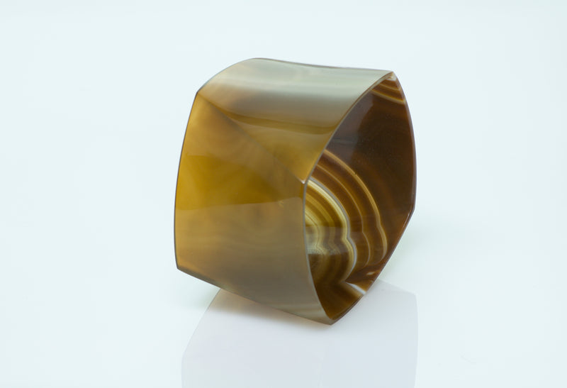 Tiffany & Co. Frank Gehry Torque Brown Banded Agate Bangle