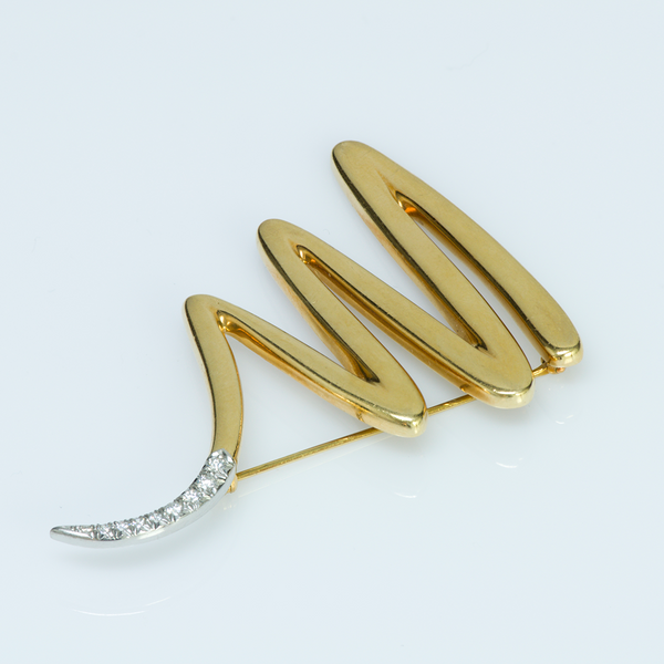 Tiffany & Co. Paloma Picasso Gold Platinum & Diamond Zig Zag Brooch