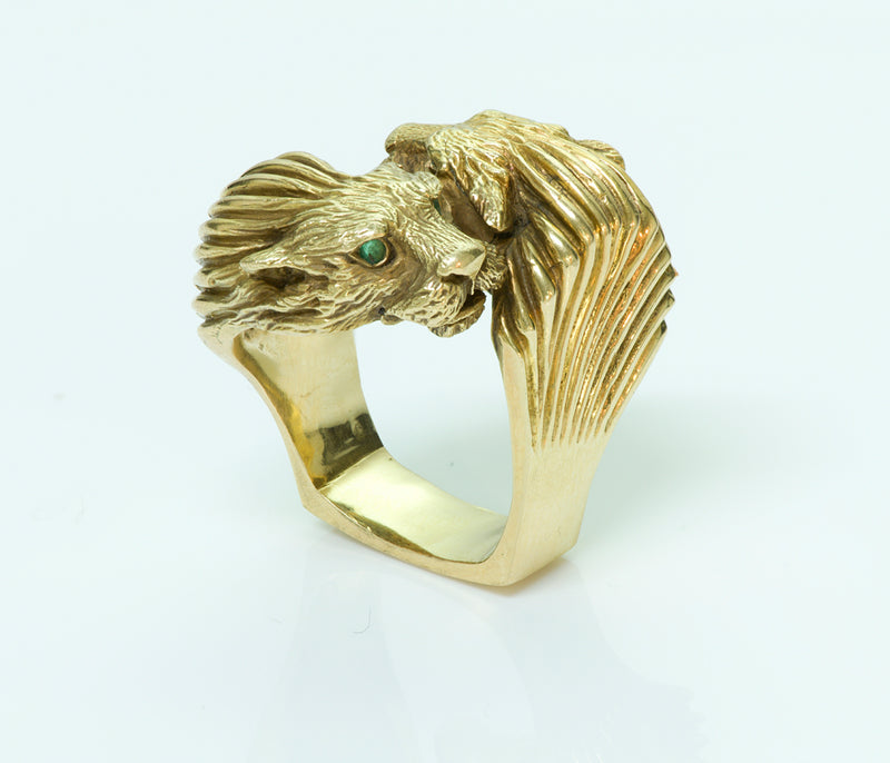 Tiffany & Co. 18K Yellow Gold Lion Bypass Ring