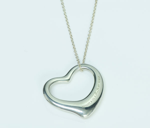 Tiffany & Co. Elsa Peretti Silver Large Open Heart Pendant