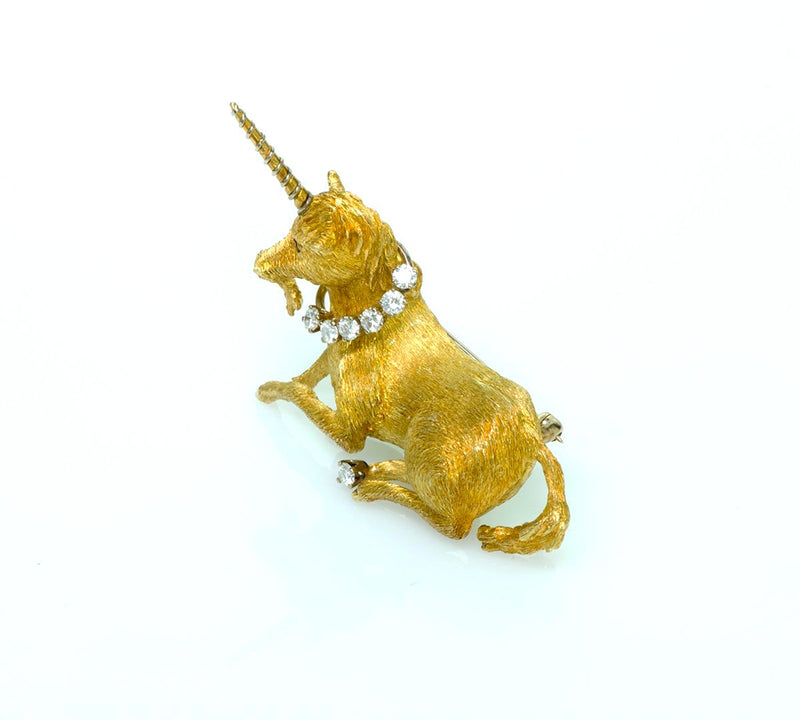 Tiffany & Co. Diamond Ruby Unicorn Gold Brooch