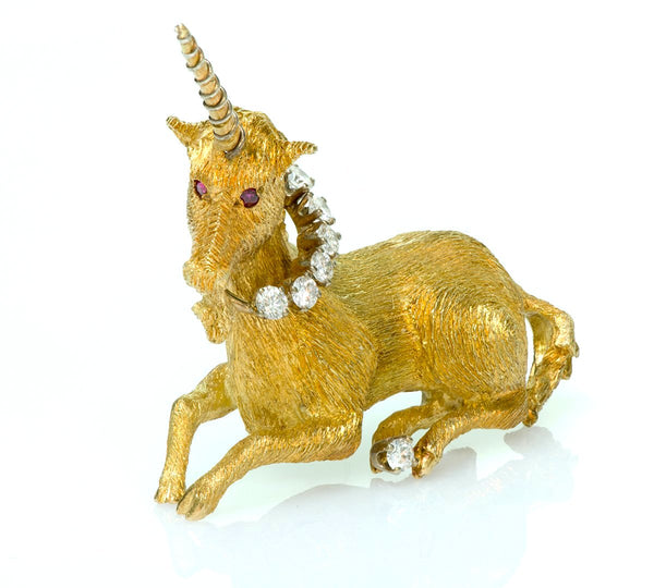 Vintage Tiffany & Co. Diamond Ruby Unicorn Brooch