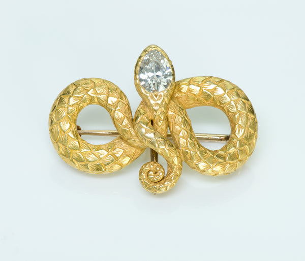 Tiffany & Co. Antique Gold Snake Diamond Brooch