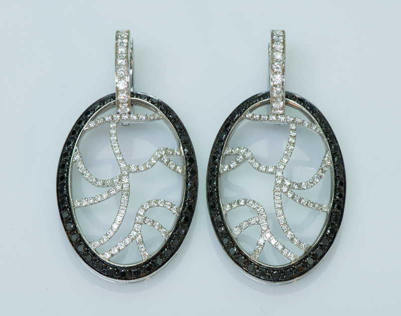 Versace 18K White Gold Black & White Diamond Earrings